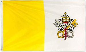 Ericraft Drapeau du Vatican Grand 90 x 150 cm Drapeau Vatican de balcon pour extérieur renforcé avec 2 œillets métalliques, drapeau Vatican en tissu, Vatican Flag