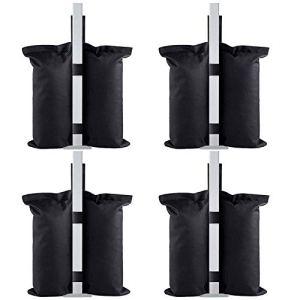 Eurmax Sacs de lestage pour auvent Pop-up instantané, Sacs de Sable, Poids de Jambes pour auvent Pop-up lesté pour Pieds Sac de Sable Sand Bags 4 PCS-Black