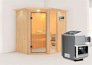 Fiona karibu 1–sauna avec poêle 9 kW avec dachkranz –