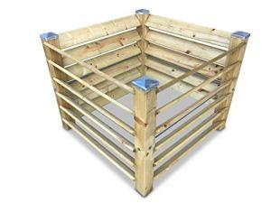 GartenDepot24 Composteur en bois avec 4 embouts galvanisés 100 x 100 x 80 cm env. 650 l