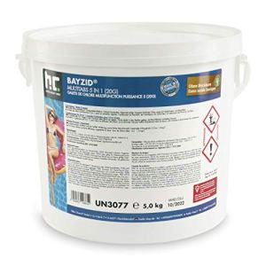 Höfer Chemie BAYZID 5 en 1- Pastilles de chlore multifonction de 20 g- 1 x 5kg – Pour la piscine – Réunissent 5 produits en 1 seul pour une eau de piscine propre et hygiénique