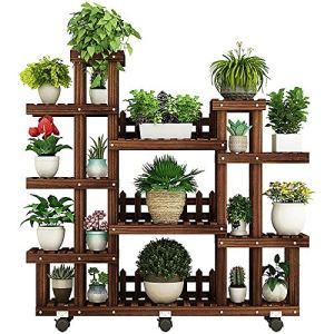 JenLn Bois Usine Support Multi Couche de Fleurs étagères Rack supérieur et inférieur des Plantes d'intérieur Titulaire extérieur étagères (Color, Size : 130X115CM)
