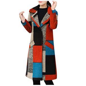 JXQ-N Femmes Trench Long Manteau de Laine d'hiver Couleur Oversize Bloc Brochage Main Lapel Pardessus Veste