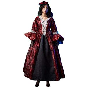 JXQ-N Mode Femmes Halloween Cosplay Sorcière Vintage Robe Gothique Cosplay Costume Robe Maxi