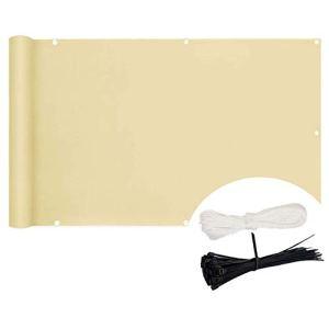 KANGLIPU Vue pour Balcon 0.9×3.5m aux déchirures et au Vent D'intimité Toile Simple d'entretien pour Balcon/Patio/Jardin/terrasse/Grillage, Couleur Crème