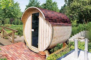 Karibu Tonneau–Sauna 142mm avec bioofen–Sauna Maison de 9kW