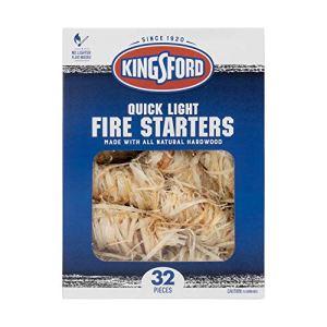 Kingsford Allume-feu Rapide | Allume-feu en Bois fabriqué avec Tout en Bois Dur Naturel pour Barbecue, Feux de Camp et foyers extérieurs | 32 Rouleaux d'allume-feu