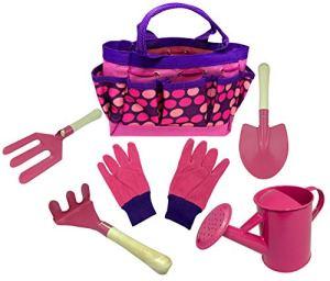 Kit d'outils de jardinage pour enfants comprenant un arrosoir, des gants de jardinage, une pelle, un râteau, des outils d'apprentissage de la truelle tout en un (Royaume-Uni) – Rose – Taille Unique
