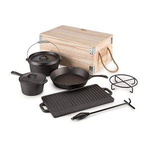 KLARSTEIN Hotrod Masterplan Batterie de Cuisine en Fonte (cocotte Authentique Set de 7 pièces pour Cuisiner, Utilisation Simple, Capacité cocotte : env. 4 l)
