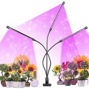 Lampe de Plante, 60LEDs 30W Lampe Pour Plante 3 Têtes Lampe Croissance Spectre Complet, Minuterie de Mise en Marche et D'arrêt Automatique 4H /8H/12H, 3 Couleurs, Parfait pour Plante/Légume/Fleur
