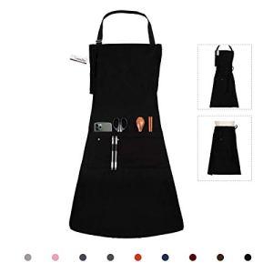LessMo Tablier, 100% Tablier de Cuisine en Coton avec Cou réglable Sangle, qualité Professionnelle Tablier BBQ, 70 x 85 cm