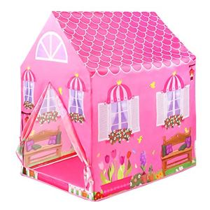 L.Y Tente Tipi Enfant Chateau Princesse Tente Tipi Fille Rose Tente Princesse Fille Jeux Exterieur Interieur Jardin et Maison Camping Plage Jeu de Rôle pour Cadeau d'anniversaire Fille