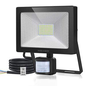 MEIKEE 60W Projecteur LED Detecteur de Mouvement, Spot LED Extérieur 6000LM Super Lumineux, IP66 Etanche, Blanc Froid 6500K, Lampe de Sécurité pour Eclairage Jardin, Patio, Cour