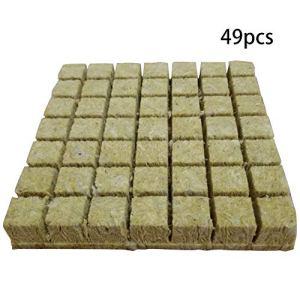 MIAOQI Cubes Laine Roche Blocs Support Plantation Jardin Mini Serre Multifonction agricole hydroponique cultiver Pratique sans Sol Base Compression ventilative(1.5 Pouces 49 pièces)