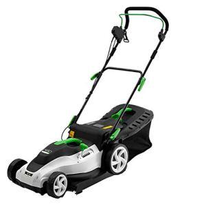 MLXG Coupe-Herbe électrique 1400W, poussée Manuelle à 6 Niveaux de Tonte réglable en Hauteur et boîte de Collecte de 50L pour Jardins pelouses fermes parterres de Fleurs