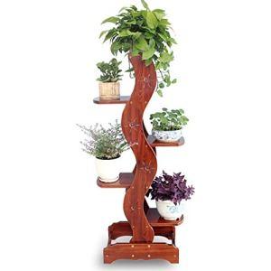 MMWYC Support de plante Support de fleur Salon en bois massif Intérieur balcon Étagère à fleurs Étage multicouche Support de pot de fleur, Présentoir pour plantes (Couleur: 5 niveaux) /20×12.6×53.5inc