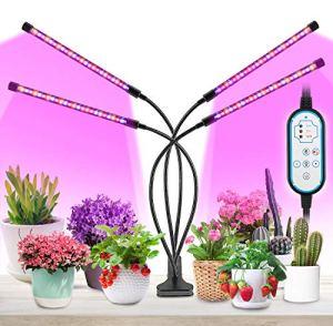 MOREASE Lampes de croissance et horticoles,4 Tube LED Éclairage pour plantes,3 Mode Lumière (Rouge, Bleu, Jaune),10 Modes de Luminosité,Chronométrage AUTO – ON/OFF
