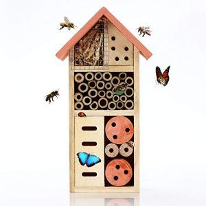Nature's Buddy Hôtel à Insectes – 13 x 8 x 26 cm – Abri de Jardin Écologique pour Abeilles et autres Insectes de Jardin – Convient aux Enfants, Maison Bois Naturelle, Résistante aux Intempéries