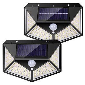 nuosife Lampe Solaire Extérieur, projecteur solaire, 3 modes d'éclairage, éclairage à quatre côtés à 270 °, 100 LED, sans fil, Ip65 étanche et durable, adapté aux jardins, terrasses, etc. (2 pcs)