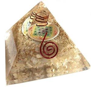 Orgonite pyramide fleur de vie Pierre de lune – Base 7 cm – (Elle développe l'intuition et les dons de voyance)