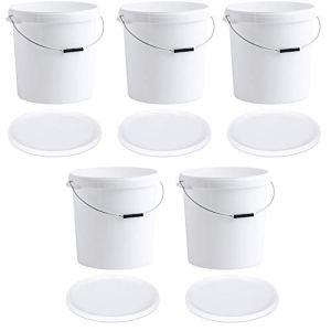 Paquet de 5 Seaux en Plastique Blanc de 30 Litres Avec Couvercles