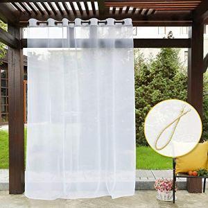 PONY DANCE Blanc Rideaux Voilage – Rideau d'extérieur en Voile Décoration de Jardin Terrasse Draperies avec Oeillets Lumineux Filtrer, 254 x 274 cm, Lot de 1