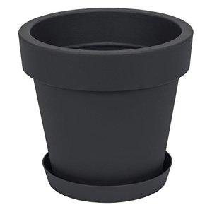 Pot de Fleur avec Soucoupe en Plastique Lofly, Classique, 50 cm diam, Anthracite