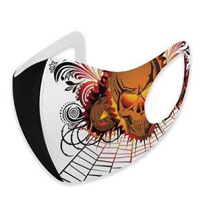 PXQOV Housse coupe-vent confortable – Tête de mort en colère – Esprit du feu de camp – Design de chauve-souris – Décoration pour le visage.