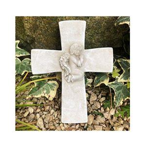 Radami Croix avec ange en 3D Pierre commémorative Pierre tombale Décoration funéraire Croix funéraire Poids 800 g