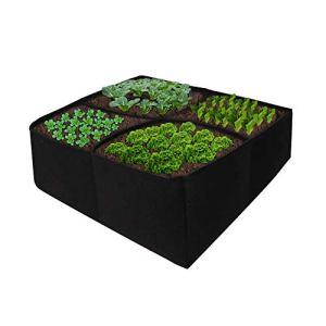 Redsa Lot de 2 jardinières surélevées en tissu avec 12 étiquettes en feutre et 4 grilles séparées – Pot de culture carré respirant pour plantes d'extérieur – 60 x 60 x 25 cm