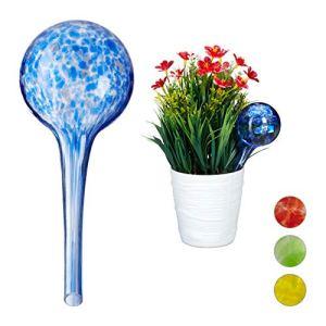 Relaxdays 10025455_45 Globes d'arrosage Lot de 2, Distributeur Eau Plantes et Fleurs, Outil de Bureau, Ø 6 cm, Verre, Bleu