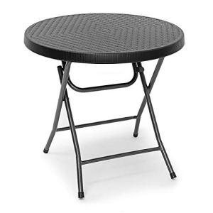 Relaxdays Table pliante de jardin BASTIAN ronde HxlxP 74 x 80 x 80 cm Camping pliable BASTIAN en aspect rotin Terrasse, noir