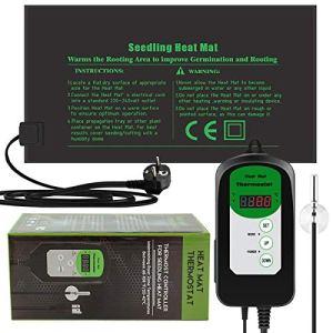 RIOGOO 24 * 52cm Tapis Chauffant pour semis et contrôleur de Thermostat 68-108 ° F contrôleur de Thermostat numérique IP68 étanche (Tapis Chauffant + contrôleur de Thermostat)