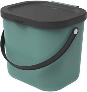 Rotho Albula Poubelle Bio 6L avec Couvercle et Poignée pour la Cuisine, Plastique (PP) sans BPA, Vert Foncé/Anthracite, 6L (23,5 x 20,0 x 20,8 cm)