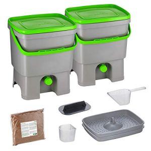 Skaza Bokashi Organko Set (2 x 16 L) Lot de 2 Composteurs en Plastique Recyclé   Starter Set pour Les Déchets de Cuisine et Le Compostage   avec de EM Bokashi Ferment 1 kg (Gris-Vert)