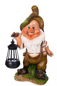 Statuette Nain de Jardin avec Lampe Solaire NF11021-2D, Grande Taille 37 cm de Hauteur, Figurine, Nain de Jardin, Lutin avec Lampe Solaire LED,