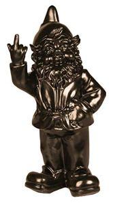 Statuette nain de jardin doigt d'honneur – maison/jardin – 15 x 12 x 32 cm – noir