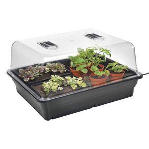 Stewart Essentials Propagateur électrique pour Jardinage (38cm) Noir Haute qualité Premium (Couvercle en styrène Rigide Transparent, 50 W) Large – 52 cm Noir