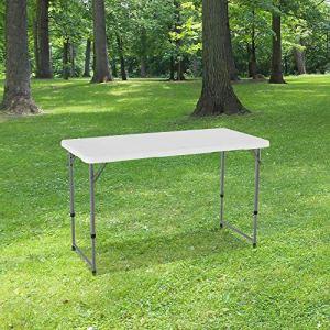 Table Pliante 120 cm d'Appoint Rectangulaire Blanche – Table de Camping 6 personnes L120 x l60 x H74cm en HDPE Haute Densité Épaisseur 3,5 cm – Pieds en Acier Pelliculé Gris – Idéal Cérémonies