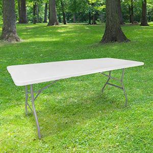 Table Pliante 180 cm d'Appoint Rectangulaire Blanche – Table de Camping 8 personnes L180 x l74 x H74cm en HDPE Haute Densité Épaisseur 3,5 cm – Pieds en Acier Pelliculé Gris – Idéal Cérémonies