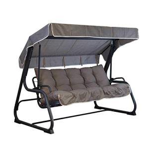 Tecnoweb Coussins pour balancelle 4 places, coussin de toit assorti de rechange inclus, 100 % fabriqué en Italie, idéal pour l'extérieur (jardin et cours) – Cadre non inclus taupe