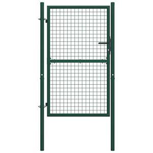 Tidyard Portail de Clôture/Portillon Jardin Exterieur/Portail de Cloture 100×150 cm Vert en Acier