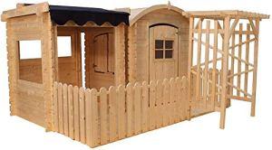 TIMBELA M505+M080M Maisonnette en Bois avec abri et terrasse- Maison de Jardin pour Enfants – pour l'exterieur