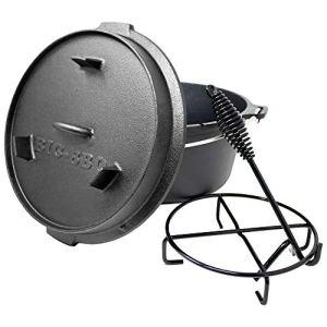 ToCis Big BBQ DO 6 Premium Dutch Oven |12″ Cocotte et Faitout en Fonte | Pré traités et guéris| avec lève-Couvercle et Support pour Couvercle | sans Les Pieds