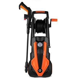 TOPZONE Nettoyeur Haute Pression électrique 1900 W, Max.150Bar, Laveuse 450L/H, Laveuse Haute Pression Machine de Nettoyage pour Voitures / Clôtures / Jardin / Patios / Piscine (Orange)