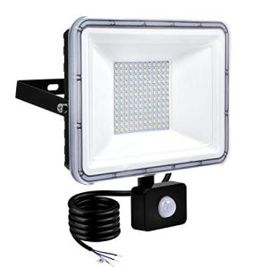 TYCOLIT 100W Projecteur PIR de détection de mouvement, Spot extérieur LED avec support 120° ajusté étanche IP67 Eclairage Exterieur Avec Détecteur, Éclairage d'urgence pour jardin, clôture, patio