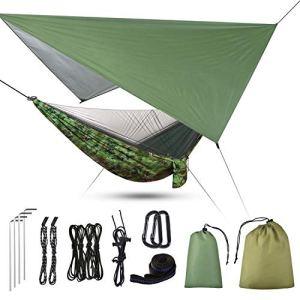 Uong Hamac de camping 3 en 1 avec moustiquaire à fermeture éclair et bâche – Capacité de charge 200 kg – Moustiquaire respirante à séchage rapide – Bâche pour camping, randonnée, pique-nique, jardin