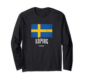 Ville de Köping – Suède | SE – Drapeau suédois souvenir – Manche Longue