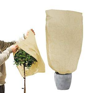 Vockvic Housse de Protection pour Plante Housse de Protection Contre Le Gel des Plantes d'hiver, Housse D'hivernage Réutilisable Anti-Givre Cordon de Serrage Non Tissée (180x120cm)