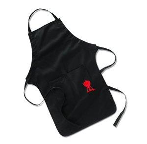 Weber 6533 Tablier de barbecue avec broderie Noir avec grandes poches pour ustensiles